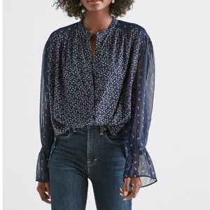 NWT Lucky Brand Mixed Print Peasant Top - Size M